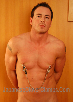 Hot guy in Japanese Clover Nipple Clamps